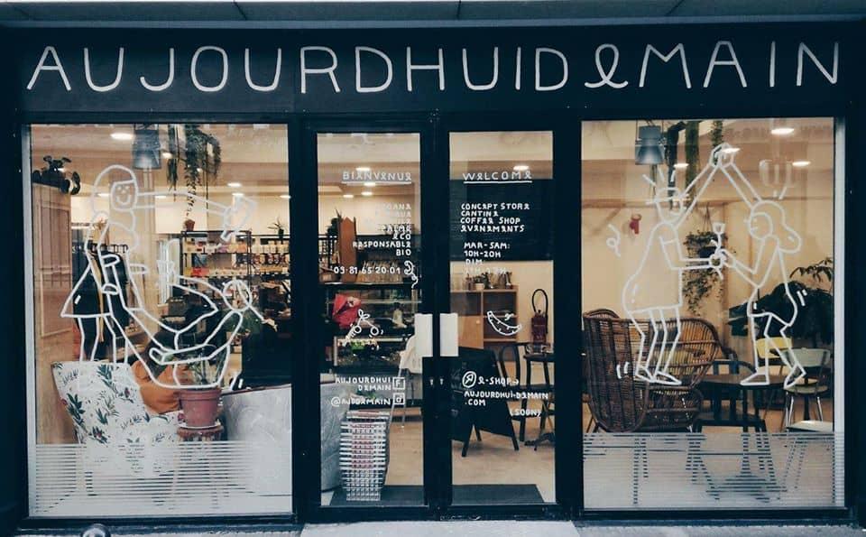 Aujourd'hui demain coffe shop cantine vegan végétale concept store Paris