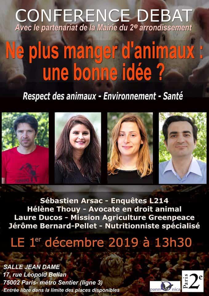 """Conférence """"Ne plus manger d'animaux une bonne idée ?"""" à Paris 1"""