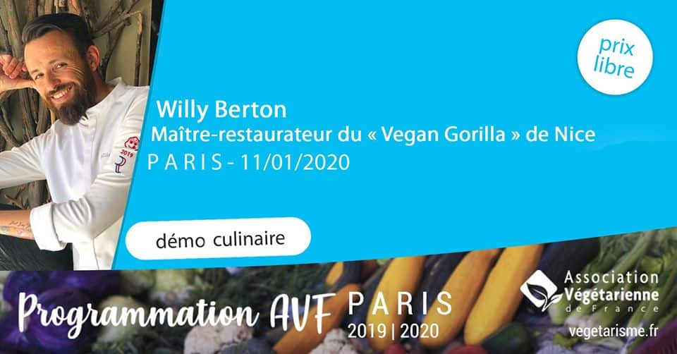 Démo culinaire Willy Berton, maître‐restaurateur, Vegan Gorilla - Paris 1